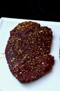 Rinderherz-Pastrami, gepökeltes und heißgeräuchertes Rinderherz